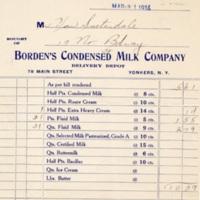 Receipt for Milk Order