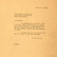 Letter to Covel and Osborn CO. from Arthur J. Van Suetendael (AJVS)